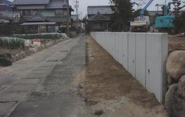 岐阜県海津市Y様邸 L型擁壁コンクリート設置工事